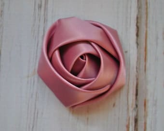 """4 pc Dusty Rose Pink Satin Rose - 2"""" inch size satin rose flowers - satin smooth rosette"""