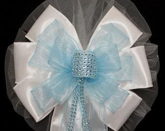 Light Blue Bling Wedding Pew Bow - Church Pew Decorations, Wedding Aisle Decorations, Wedding Ceremony Bow, Wedding Chair Bows