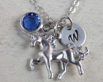 Unicorn necklace, Customized unicorn necklace, personalized unicorn necklace, silver unicorn, initial necklace, birthstone necklace