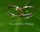 2 Hammered Small Rose Gold Hoop Earrings, cartilage hoop earrings, tragus helix nose ring, gold hoops hoop earings 20 gauge 20g ear piercing