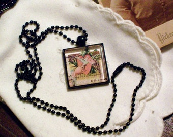 Vintage Victorian Valentine Card Necklace - Black Pendant Setting and Ball Chain - 25mm Square Glass Cabochon