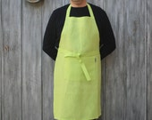 Lime Green, Unisex, Full Length Linen Kitchen Apron For Chef Cooking In The Kitchen Or On the Grill, Large Pocket