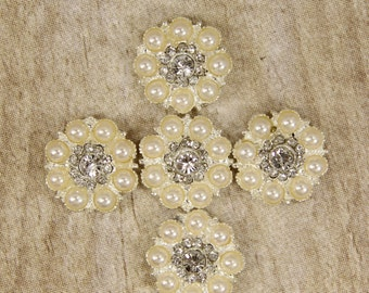 Pearl and Rhinestone Buttons - Set of 5 - 23mm Rhinestone & Pearl Button Embellishments