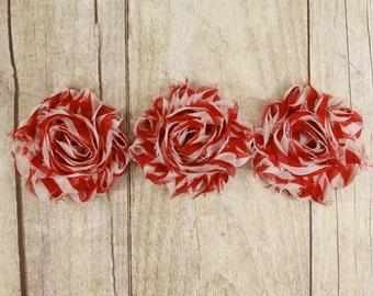 "Rosettes - ""Red and White stripe"" Shabby Chiffon Flower -  shabby flower trim, shabby chiffon rose trim, shabby rosette trim, DIY"