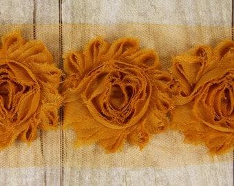 """Rosettes - """"ARTISAN'S GOLD"""" Shabby Chiffon Flower - shabby chiffon flower trim, shabby chiffon rose trim, shabby rosette trim diy"""