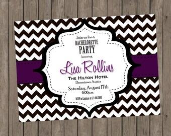 Printable Bachelorette Invitation - Lisa Purple