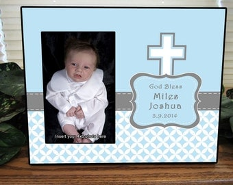 Personalized Picture Frame, Boys Baptism Gift, Boys Baptism Picture Frame