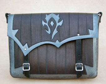 World of Warcraft-Leather Messenger bag-FREE Shipping-For The Horde-tooled leather purse-WOW-Geekery-GEEK leather bag by ForgianticaLeather