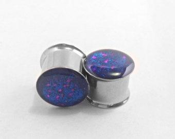 """Blue and purple polkadot glitter plugs 9/16"""""""