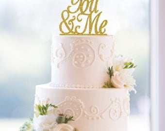 Glitter Script You and Me Laser Cut Acrylic Wedding Cake Topper – Customize in 31 glitter options- (T061)