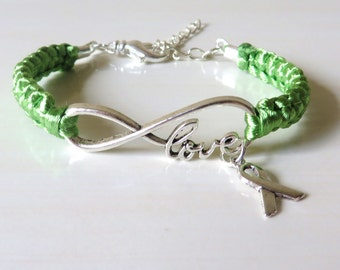 Lime Green Lymphoma Love Awareness Ribbon Charm Bracelet With Optional Hand Stamped Alphabet Initial Charm