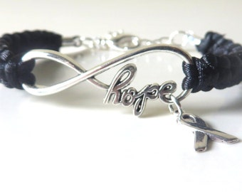 Melanoma HOPE Black Awareness Charm Bracelet with Optional Hand Stamped Alphabet Letter Charm