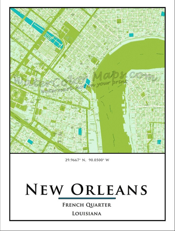 New Orleans Street Map French Quarter