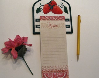 Embroidered Strawberry Memo Pad Holder for Kitchen, Office, or wherever.