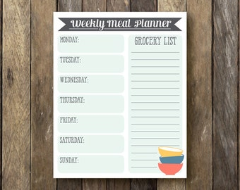 Weekly Meal Planner - Instant Download - Printable Meal Planner - Weekly Meal Plan - Printable Grocery List - Meal Planner - Daily Meal Plan