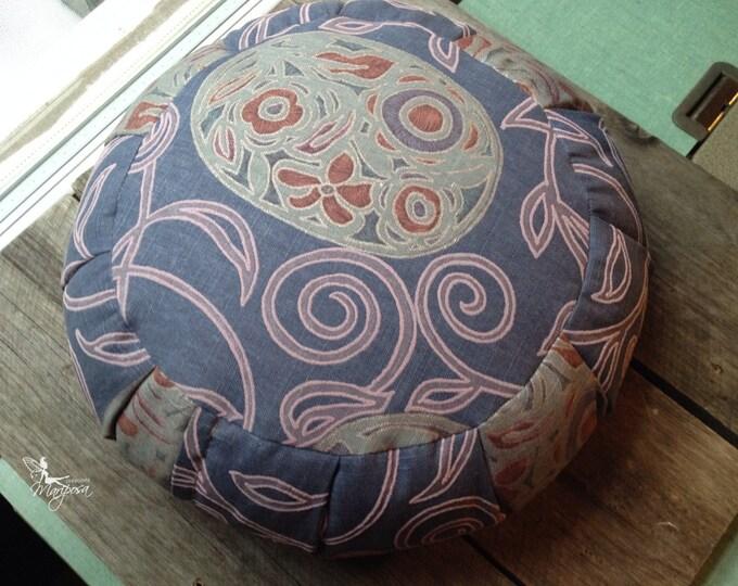 Meditation cushion zafu cotton  - Lilac spirals - with handle Organic buckwheat hulls