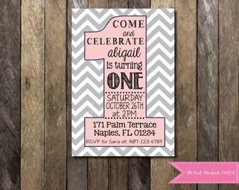 First Birthday Invitation, 1st Birthday Invitation, Pink, Grey, Chevron, Pink and Grey, Blush Pink, Birthday Invitation, Digital Printable
