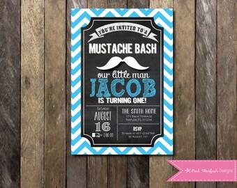 PRINTABLE  Chalkboard Mustache Birthday Invitation - Little Man 1st Birthday Invitation - Boys Girls Birthday Party 4x6 or 5x7