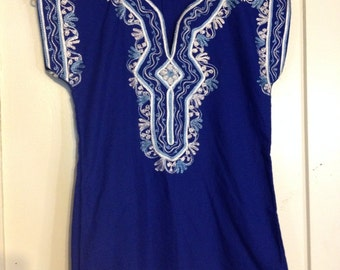 Vintage 60s Bright Blue Bohemian Embroidered Top