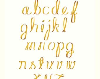 Ribbon Alphabet Clipart Script Letters Lower Case Yellow Gold Minuscules Small Letters Script Vector EPS Instant Digital Download Graphics