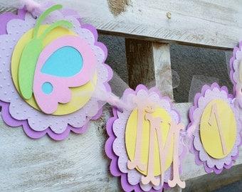 "Butterfly ""I'm 1"" High Chair Birthday Banner, Birthday Decorations, Birthday Banner, Age Banner, High Chair Decor, Baby Shower Decor"