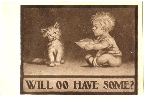 Vintage CAT Postcard: Feeding a Kitten with a Bottle by a Little Bare Butt Child