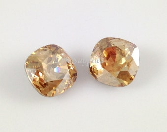 4470 GOLDEN SHADOW 12mm Swarovski Crystal Cushion Cut Square Fancy Stone