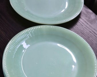 1950s Jadeite Dinner Plates Fire King Oven Ware Set Lot of 4 Jane Ray Dinner Plate Heavy Green Glass Plate Jadite Dinner Plates NM Minty