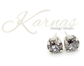 CRYSTAL BLACK PATINA 8mm Crystal Chaton Stud Earrings Made With Swarovski Elements *Pick Your Metal *Karnas Design Studio *Free Shipping*