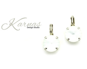 CRYSTAL MATTE 12mm Crystal Drop or Stud Earrings Made With Swarovski Elements *Pick Your Setting *Karnas Design Studio *Free Shipping*