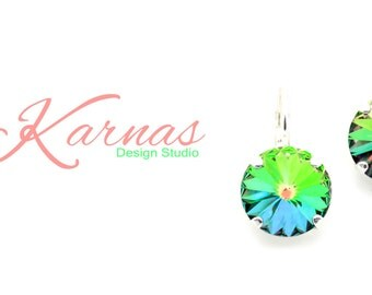 VITRAIL MEDIUM 12MM Crystal Rivoli Drop Earrings Made With Swarovski Elements *Pick Your Setting *Karnas Design Studio *Free Shipping*