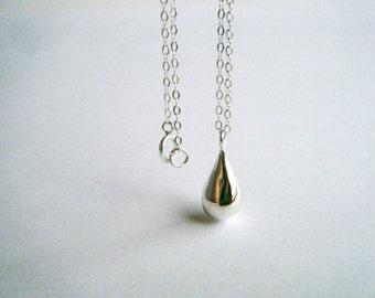 Sterling Silver teardrop necklace Teardrop Pendant Minimalist Pendant Sterling Briolette Necklace Gift for her Contemporary Necklace