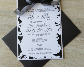 Classic Black and White Damask Rehearsal Dinner Invitation with embellished bow