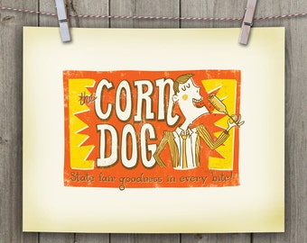 The Corn Dog. 11 x 14 Hand-lettered/Illustrated Print - Digital File