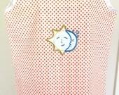 Women's Pajama Set - Two-piece Ladies Pajamas Sleepwear Loungewear Orange White Polka Dot Pattern w/ Sun Moon Design Handmade Summer Spring