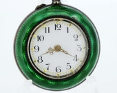 Argent Dore Silver and Green Guilloché  Enamel Ladies Pocket Watch 1900s