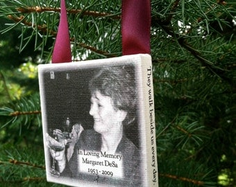 Ornament - MEMORIAL Personalized Photo Ornament on Canvas - In Loving Memory, Deceased loved one