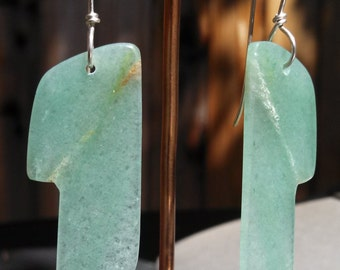 Mint Green Aventurine Stone Slab Earrings