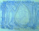 Blue Wood, mono print on paper, printmaking by Art Elephant