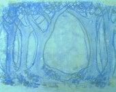 Blue Wood, mono print on paper, printmaking by Art Elephant