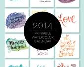2014 Printable Hand-Lettered Watercolor Calendar Download