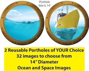 Reusable Fabric Ocean Wall Decals, Ocean Wall Decals,Submarine Window,Sea Wall Art,Nautical Wall Decals,Porthole Window Decals,O11O12