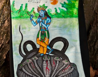 Hand-painted Krishna Tote