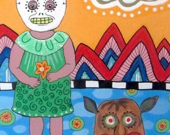 "Frida Kahlo Tribute ""Girl with Death Mask"" Card"