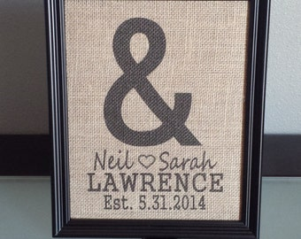 Burlap Frame Print- Ampersand Monogram with Name and Wedding Date - Customizable - Personalized - Wedding - Anniversary - 8x10