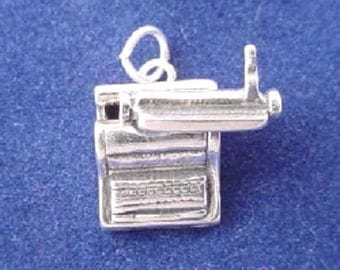 TYPEWRITER Charm, Typist, Office, Movable .925 Sterling Silver Charm
