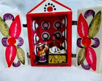 Folk Art Hat Shop -Vintage Peruvian Handmade Ceramic Kitsch Decor - Folk Art Collectible - Nursery,Boho, Eclectic Home