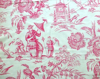 "Red French Toile De Jouy Fabric -  Mandarin Chinoiserie Designer Cotton Print - Home Decor, DIY Fashion Crafting 46"" x 52""/ 117cm x 132cm"