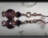 Deep PURPLE Beaded EARRINGS: Amethyst Glass Lampwork Beads, Deep Iris Crystal Bicones, Copper Filligree Bead Caps, Copper Earwires