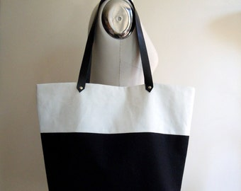 Black white canvas tote bag, leather handles, beach bag, tote bag, shoulder bag